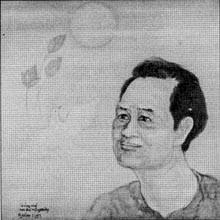 Hòn đá trôi nghiêng - tranh Nguyên Hạo